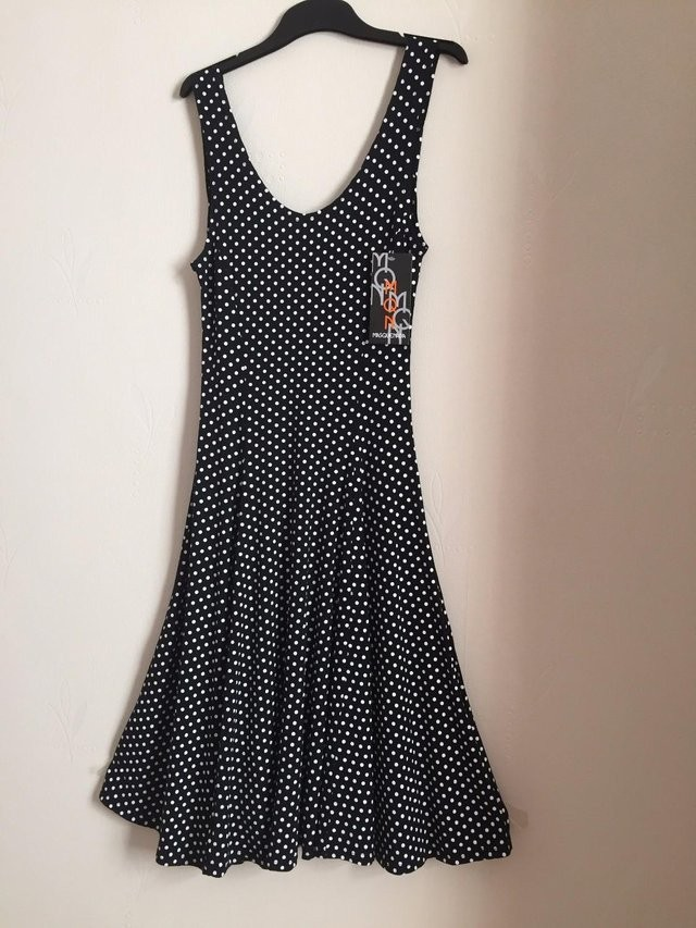 NEW NAVY WITH WHITE SPOT FLARED DRESS