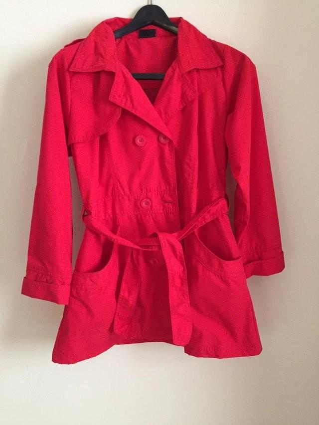 LADIES RED TRENCH COAT