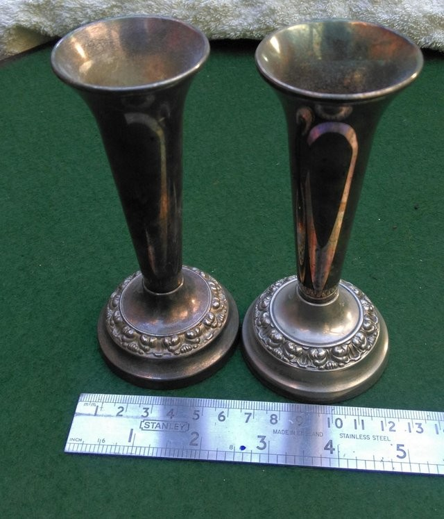 A Pair of Silver plated rose vases Ianthe