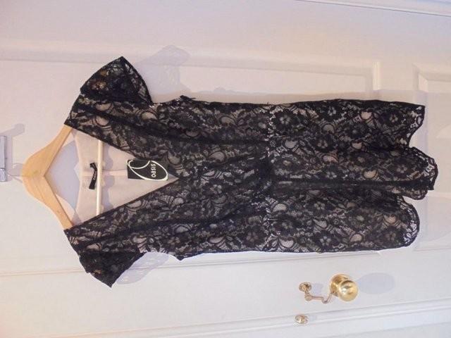 Oasis Ladies Black Lace playsuit, Size 10 - unworn