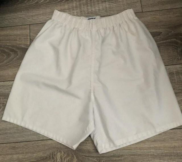 "White Polyester//cotton PE shorts 36"" waist"