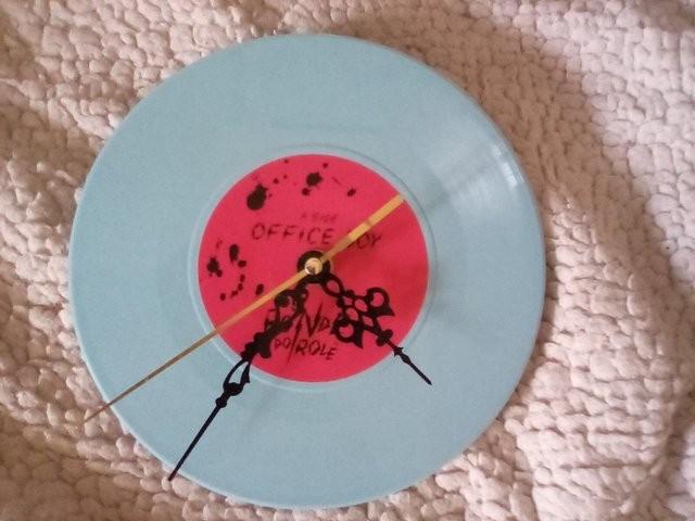 7 inch blue vinyl record clock