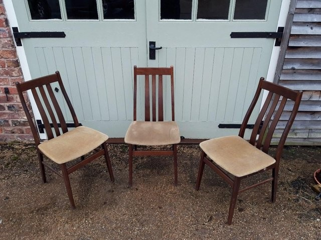 Dining chairs, contemporary elegant. Set of three