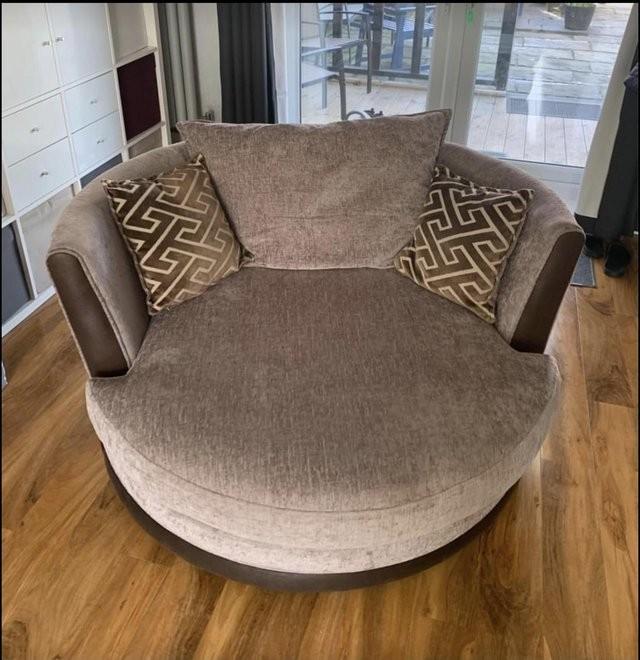DFS Large Cuddler Swivel Sofa