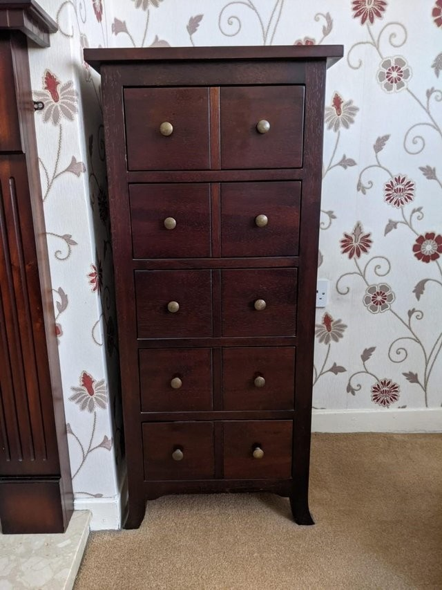 Tall boy wooden mahogany CD cabinet