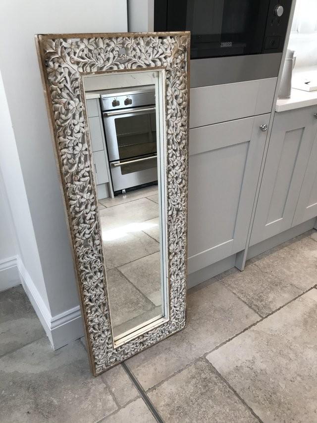 White rustic wood mirror