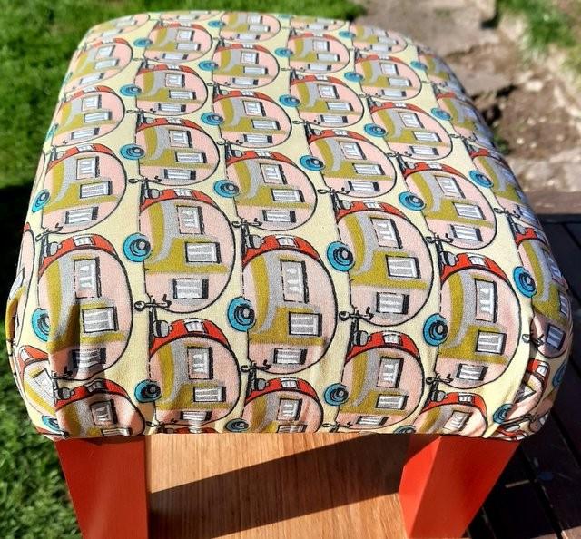 Caravan inspired upcycled footstool