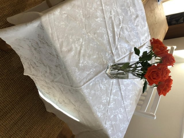 Oval Damask Table cloth in WHITE- BROMBOROUGH -Wirral