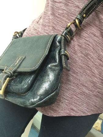 Dark grey leather Bergamo handbag