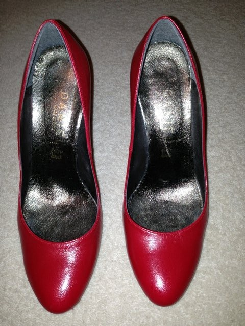 Danielle Red leather platform court shoe with high heel