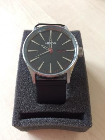 Nixon Analogue Sentry watch with black leather strap