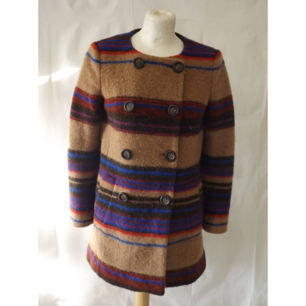 Lily striped wool blend jacket double breasted