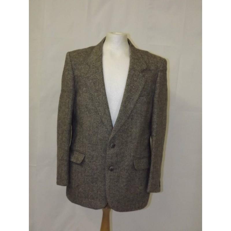 vintage wool tweed blazer jacket grey flecked Size: M