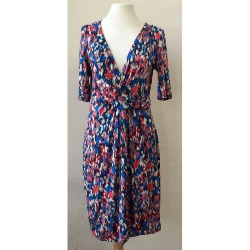 Monsoon 3/4 Sleeve Casual Dress Blue Size: 12