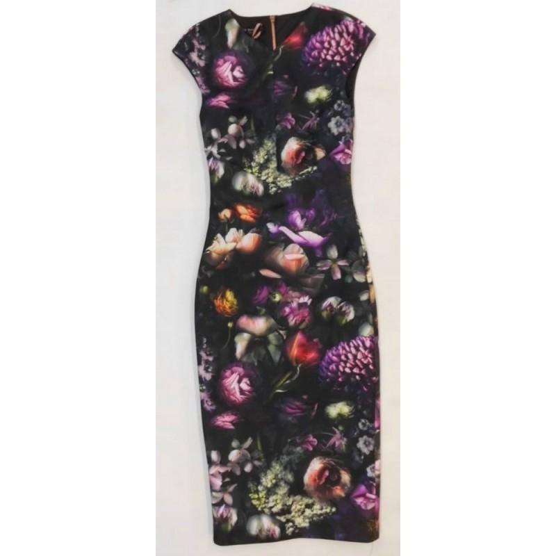 Ted Baker Dress Floral Black Size: XS