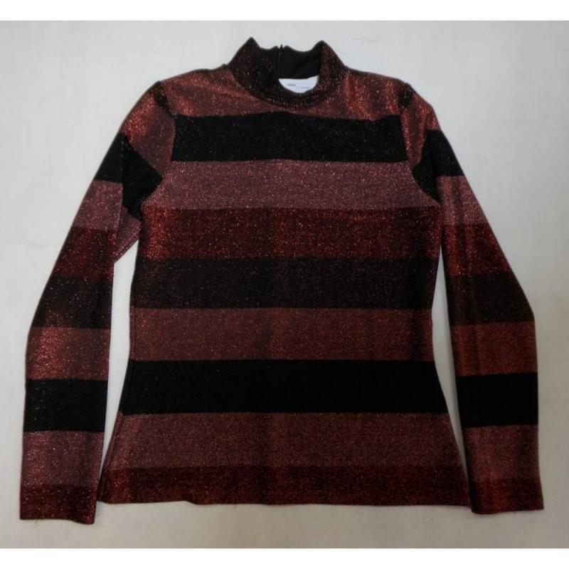 Striped Mock-Neck Top Rose Metallic Size: 10