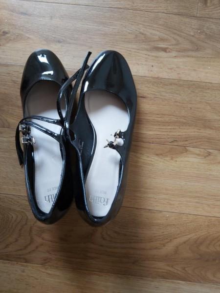 Shoes black slight heel