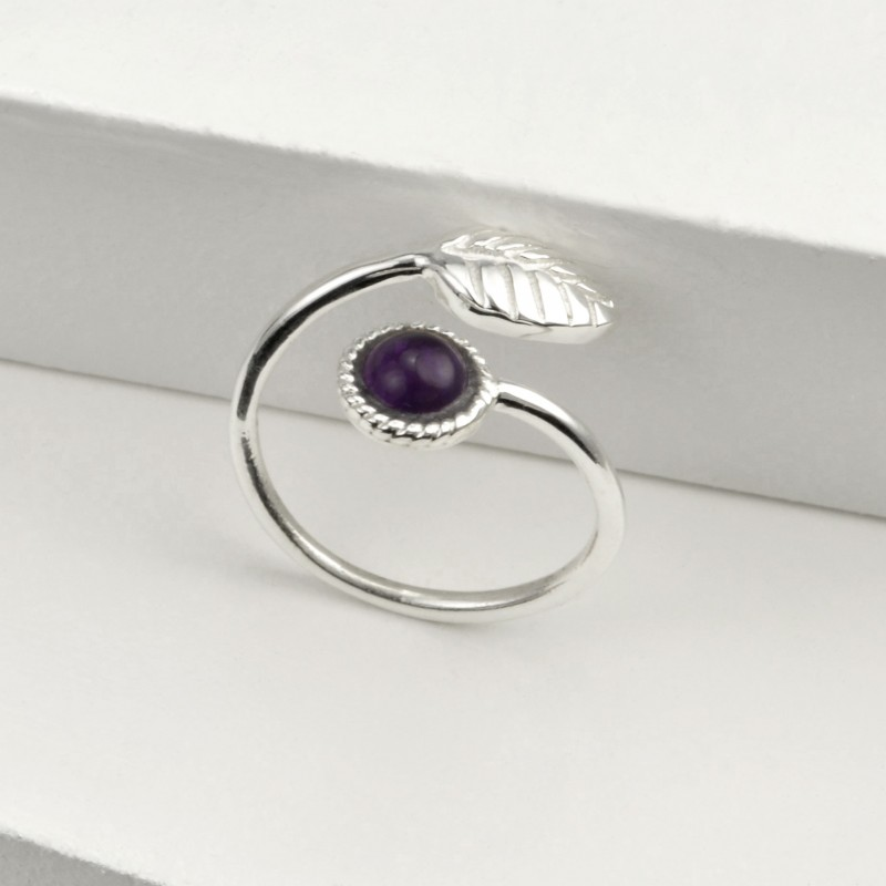 Adjustable Amethyst and Tiny Leaf Ring in Sterling Silver