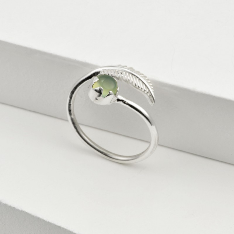 Adjustable Aqua Calci and Leaf Ring in Sterling Silver