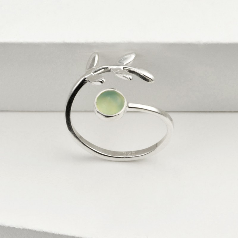 Adjustable Aqua Calci and Leaves Ring in Sterling Silver