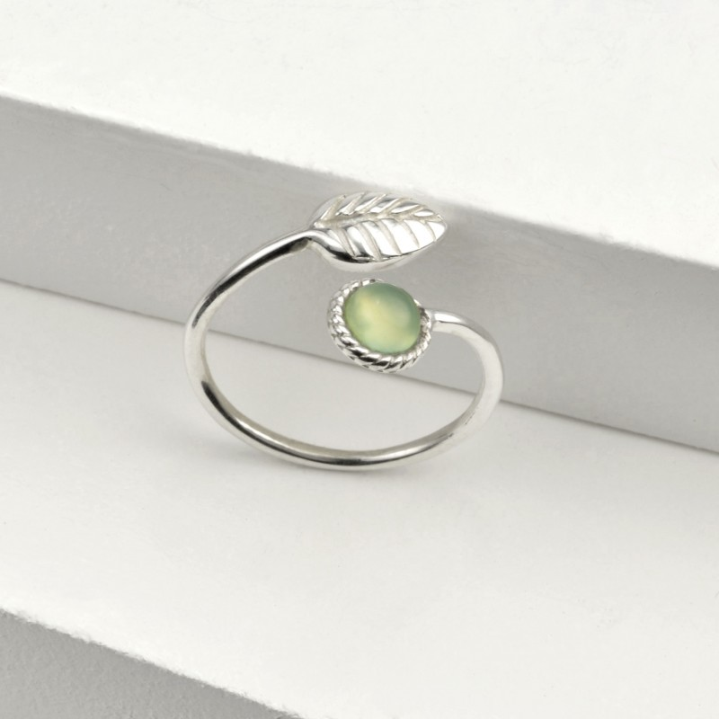 Adjustable Aqua Calci and Tiny Leaf Ring in Sterling Silver