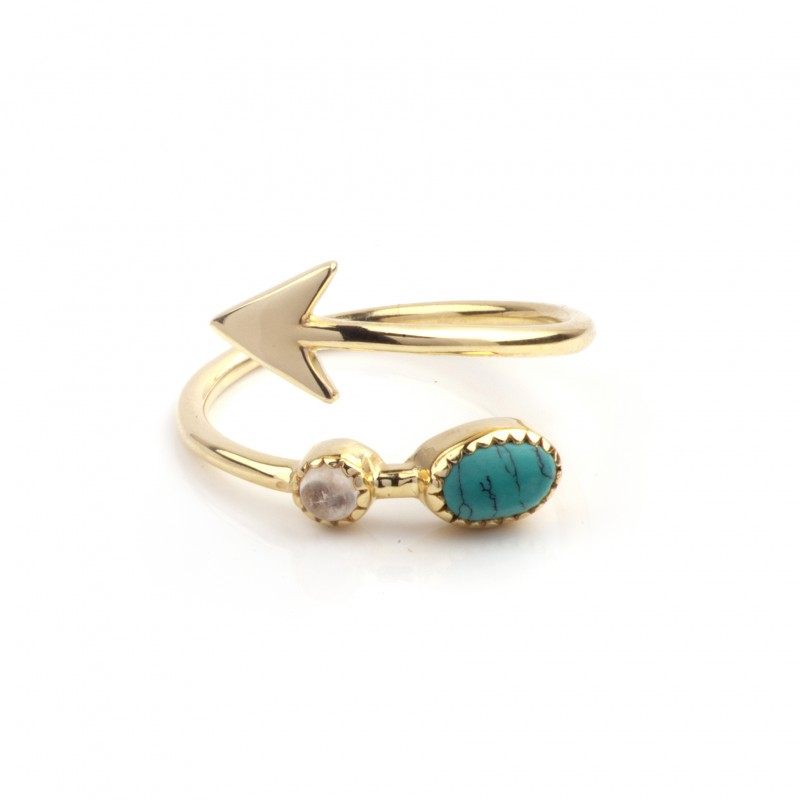 Adjustable Arrow Ring with Turquoise and Moonstone in Gold Vermeil 1