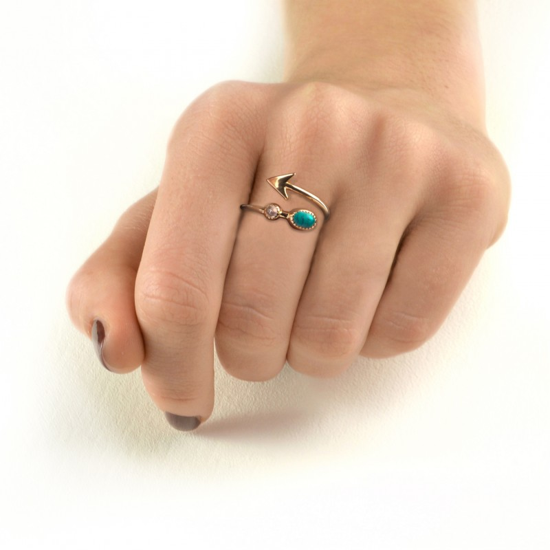 Adjustable Arrow Ring with Turquoise and Moonstone in Gold Vermeil 2