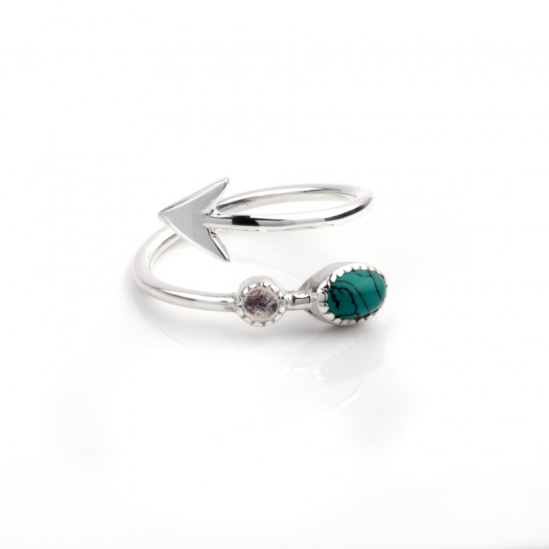 Adjustable Arrow Ring with Turquoise and Moonstone in Sterling Silver 1