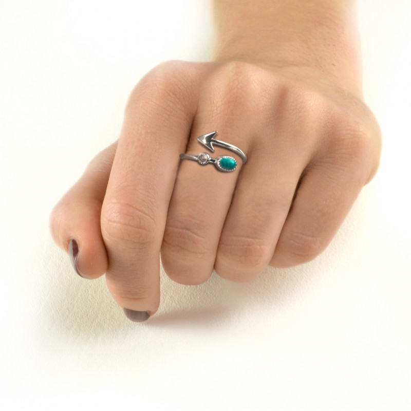 Adjustable Arrow Ring with Turquoise and Moonstone in Sterling Silver 2