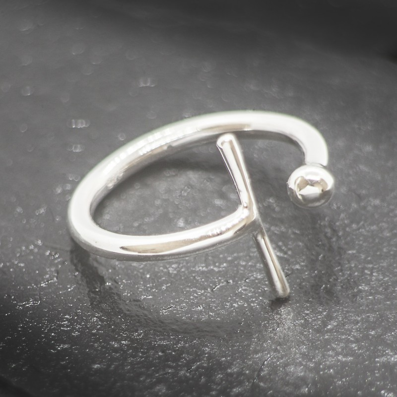 Adjustable Bar Ball Ring in Sterling Silver