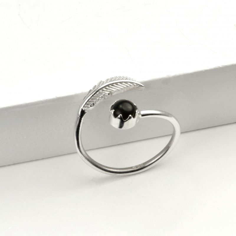 Adjustable Black Onyx and Leaf Ring in Sterling Silver