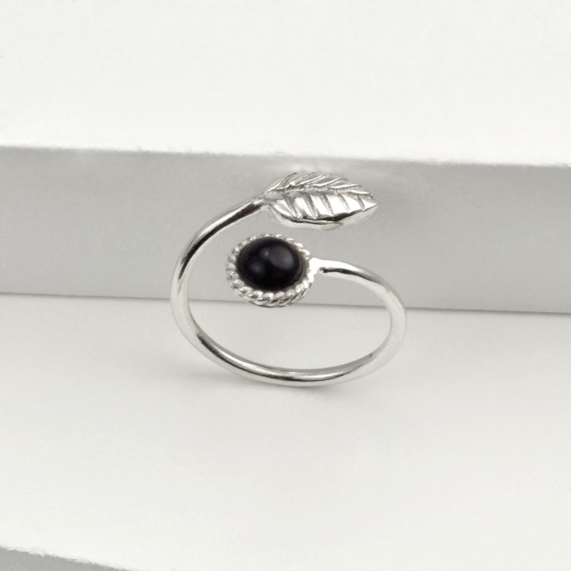 Adjustable Black Onyx and Tiny Leaf Ring in Sterling Silver