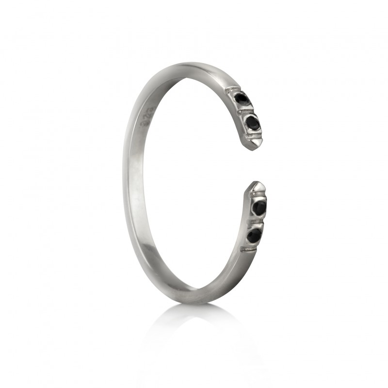 Adjustable Dainty Ring with Black Spinel in Sterling Silver 1