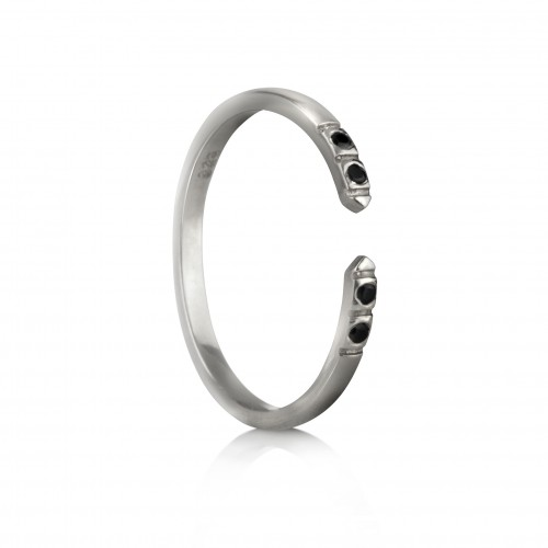 Adjustable Dainty Ring with Black Spinel in Sterling Silver