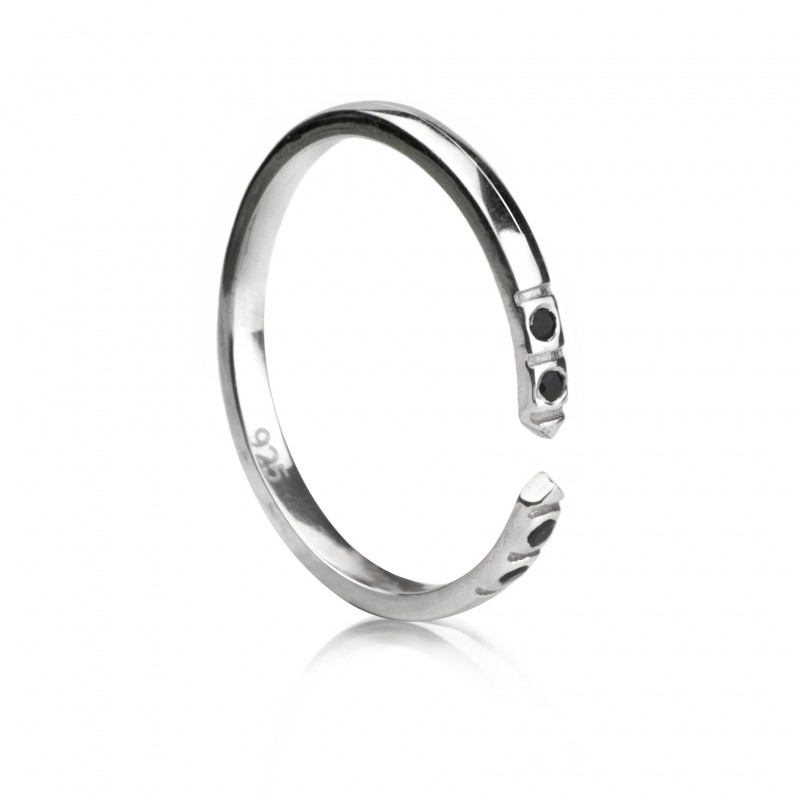 Adjustable Dainty Ring with Black Spinel in Sterling Silver 4