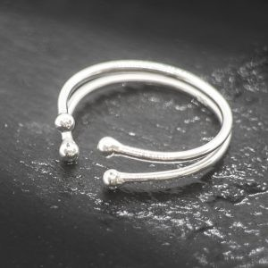 Adjustable Double Shank Ring with Beads in Sterling Silver
