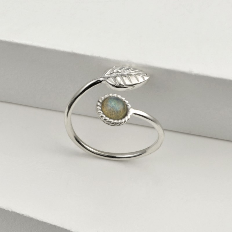 Adjustable Labradorite and Tiny Leaf Ring in Sterling Silver