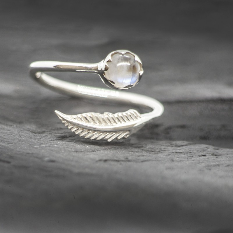 Adjustable Moonstone and Leaf Ring in Sterling Silver
