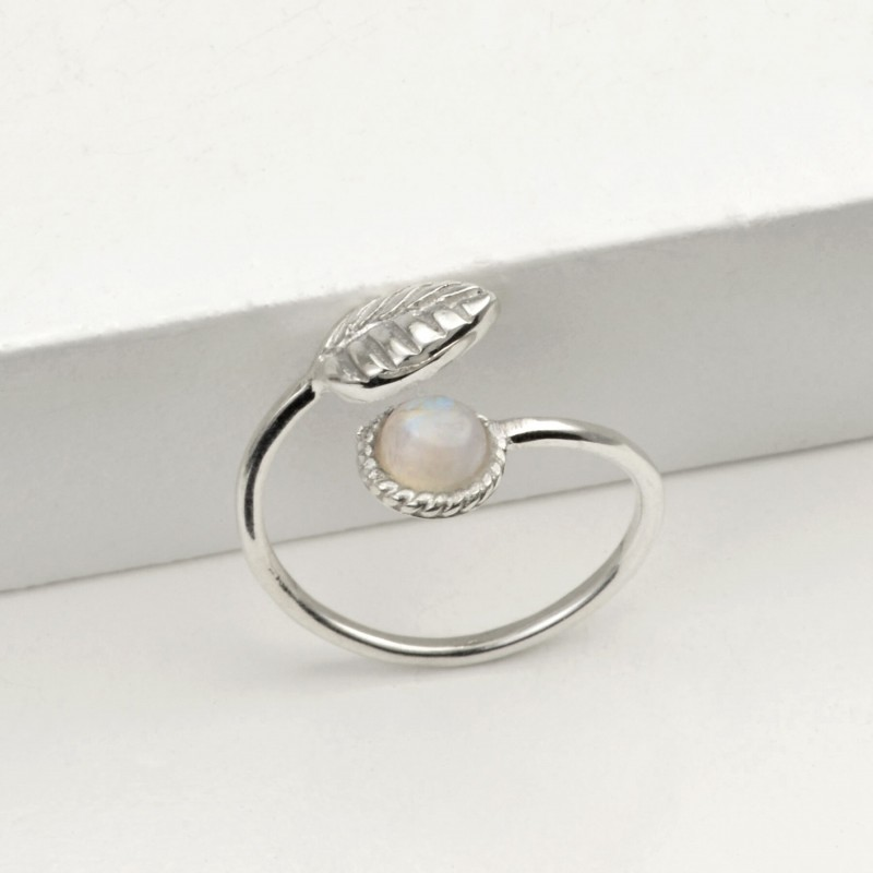 Adjustable Moonstone and Tiny Leaf Ring in Sterling Silver
