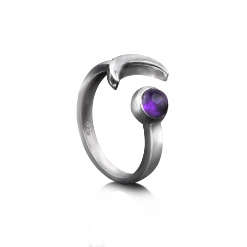 Adjustable ring with Amethyst and Crescent Moon in Sterling Silver