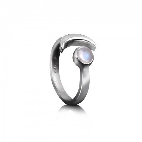 Adjustable ring with Moonstone and Crescent Moon in Sterling Silver