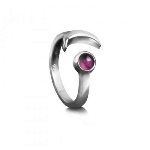Adjustable ring with Pink Tourmaline and Crescent Moon in Sterling Silver