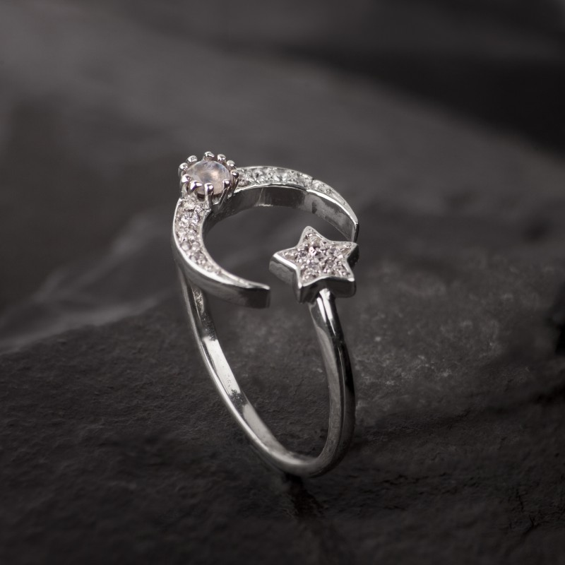 Adjustable ring with Star and Moon in Sterling Silver with CZ and Moonstone