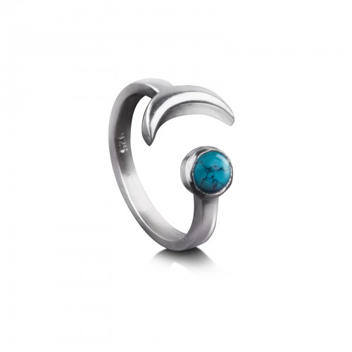 Adjustable ring with Turquoise and Crescent Moon in Sterling Silver