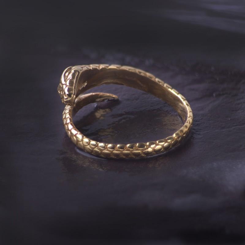 Adjustable Snake Ring in Gold Vermeil