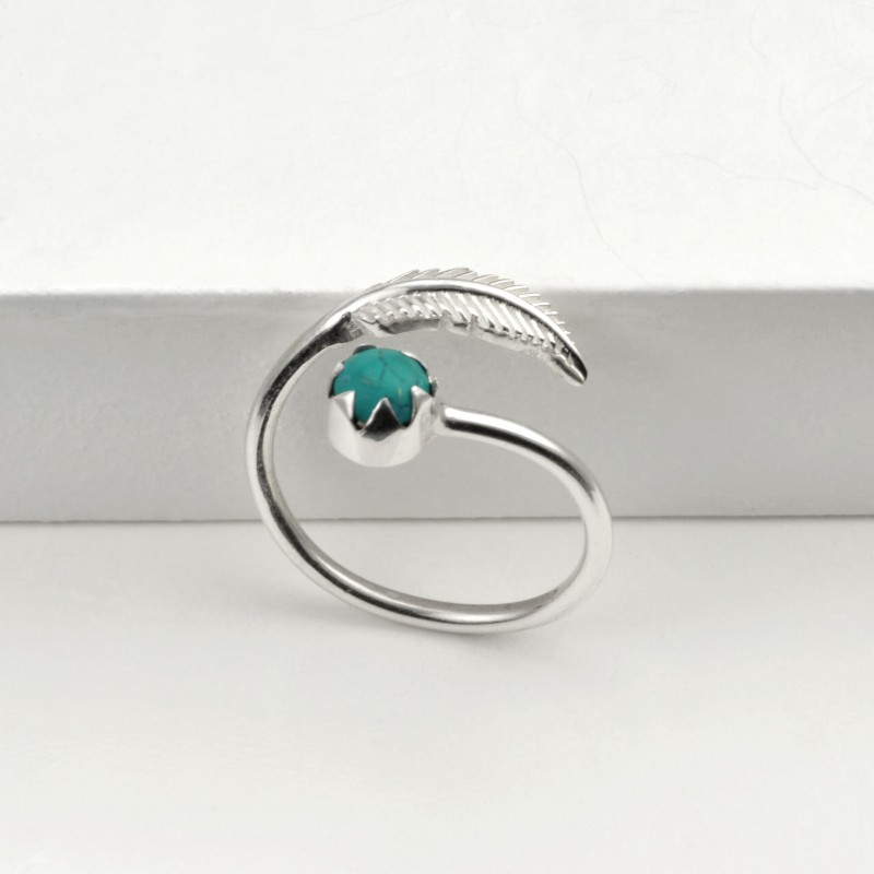 Adjustable Turquoise and Leaf Ring in Sterling Silver
