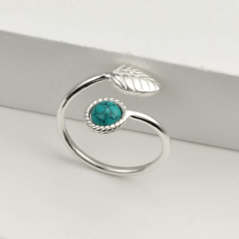 Adjustable Turquoise and Tiny Leaf Ring in Sterling Silver