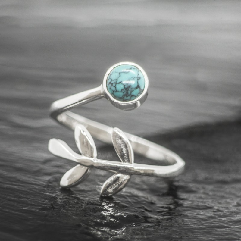 Adjustable Turquoise Ring with Leaves in Sterling Silver