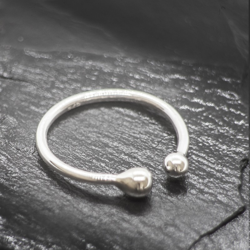 Adjustable Two Beads Ring in Sterling Silver