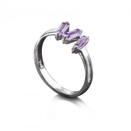 Amethyst Baguette Cut Ring in Sterling Silver